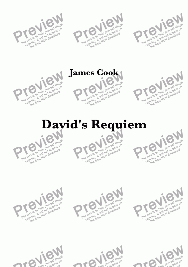 page one of David's Requiem