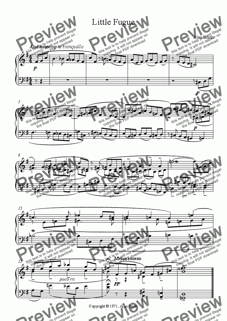 page one of Little Fugue (for piano)ASALTTEXT
