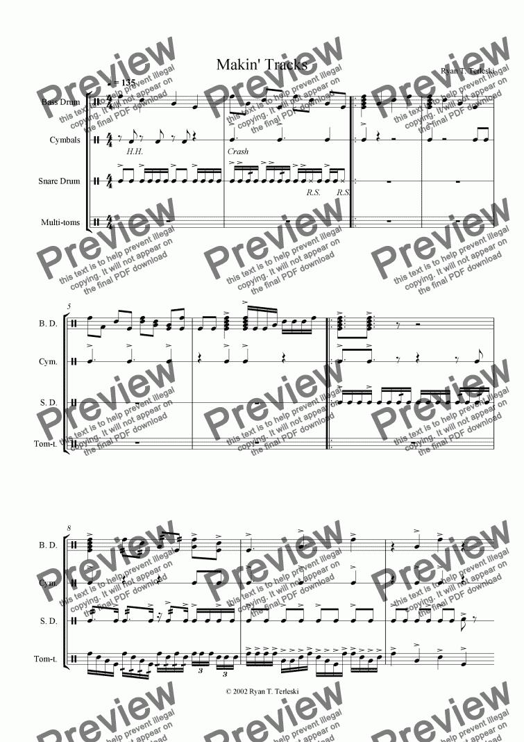 Makin' Tracks for Marching band by Ryan Terleski - Sheet Music PDF file to  download