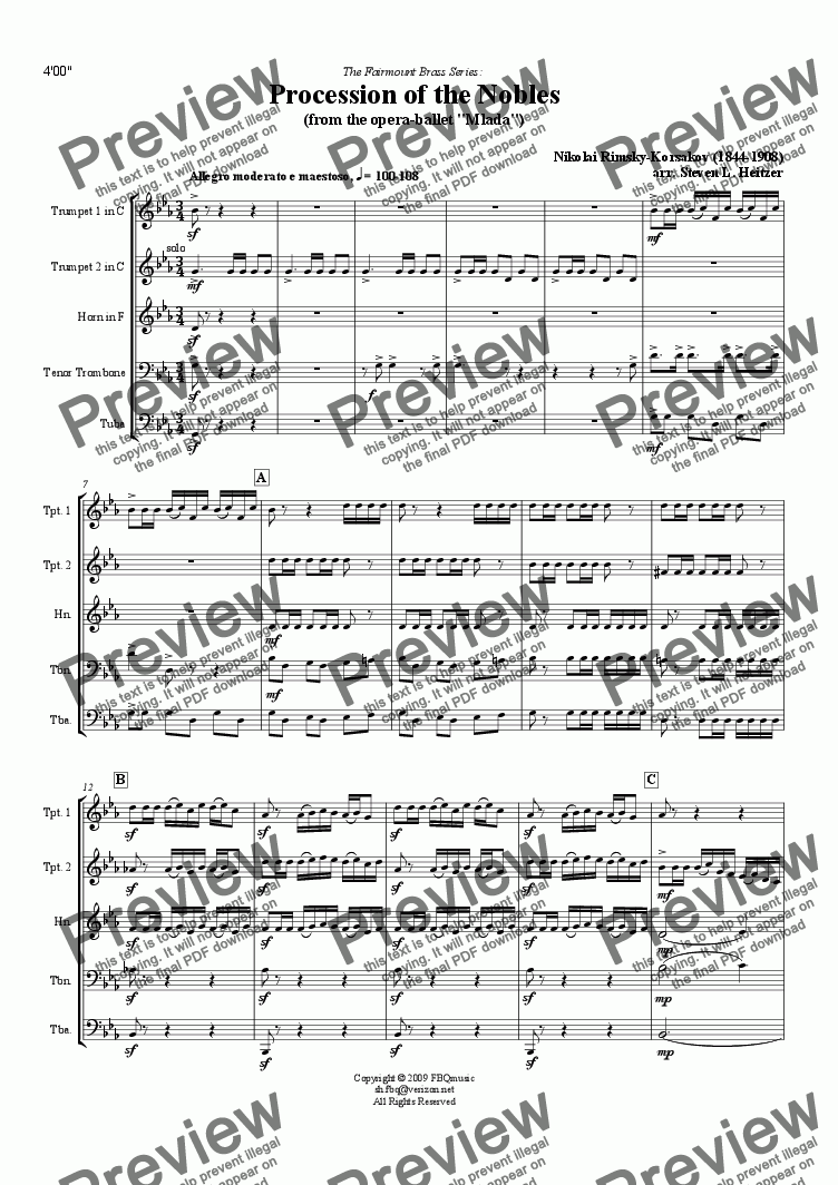 page one of Procession of the Nobles (from Mlada) - Brass QUINTET