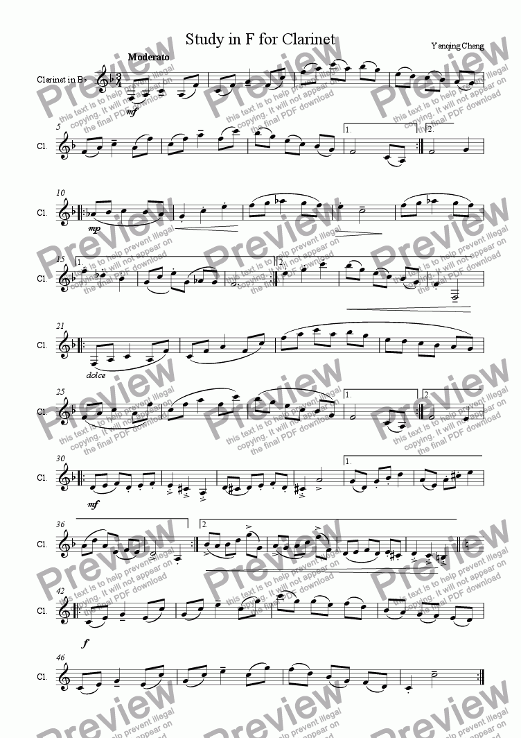 page one of Study in F for Clarinet
