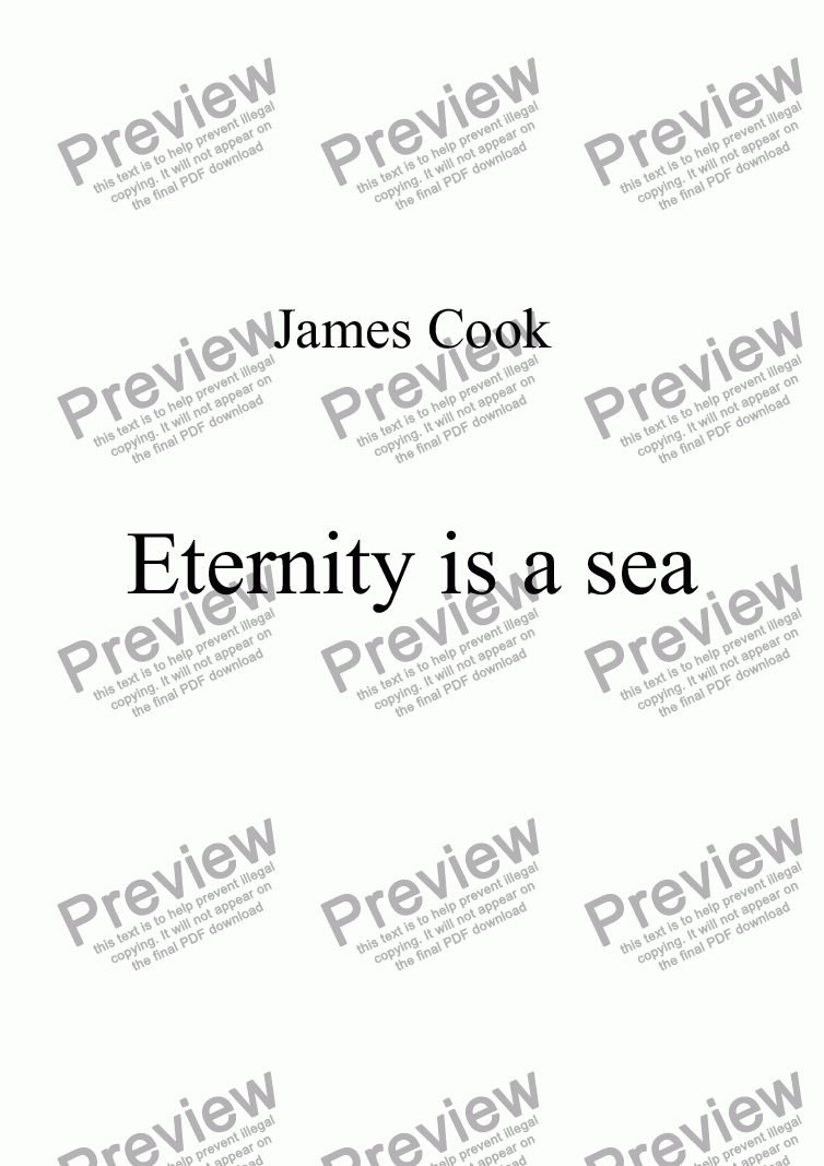 page one of Eternity is a sea