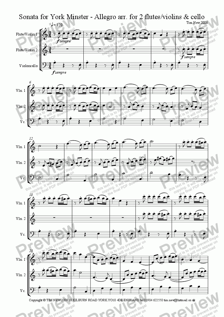 page one of Sonata for York Minster - Allegro arr. for 2 flutes/violins & cello