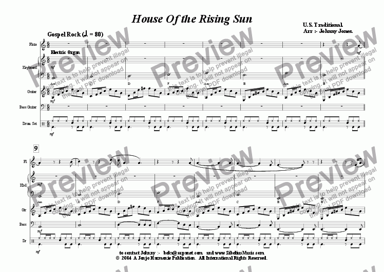 page one of House Of the Rising Sun  (Flute and 4 Rhythm)