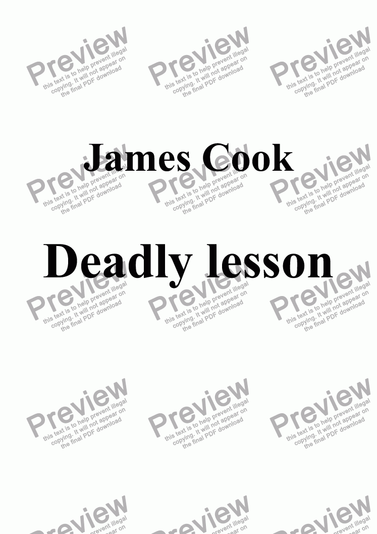 page one of Deadly lesson