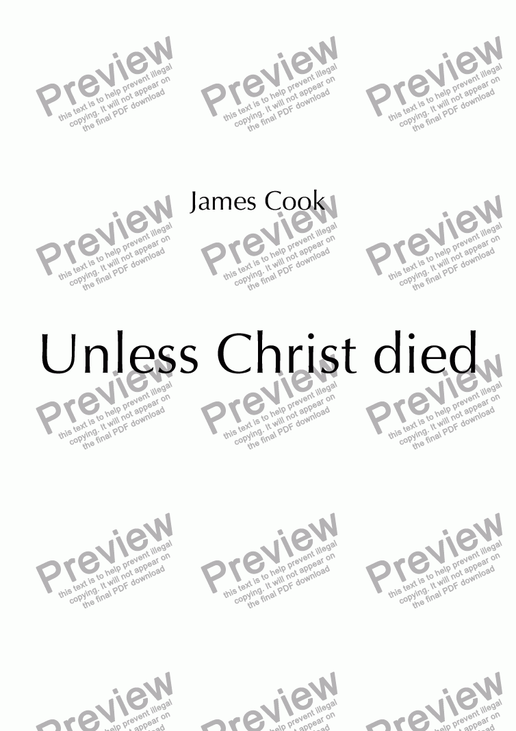 page one of Unless Christ died