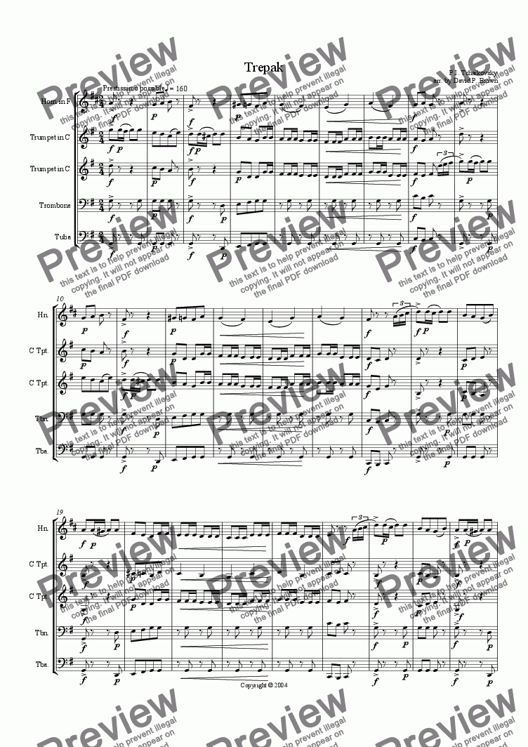 page one of Trepak for Brass Quintet