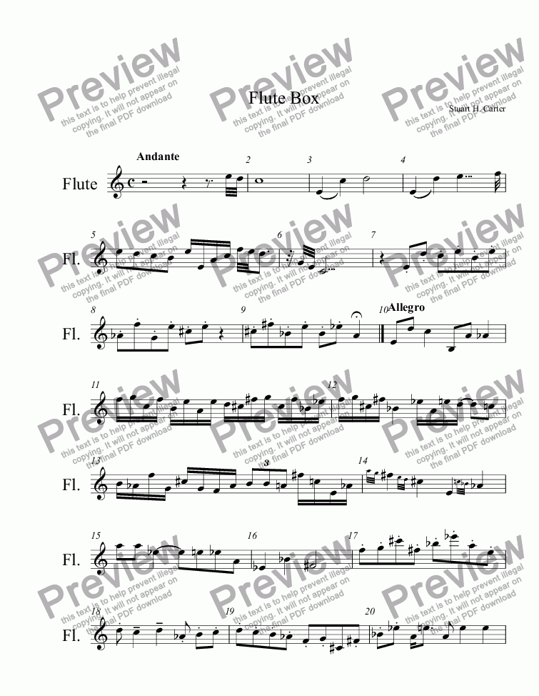 Flute Box for Solo instrument (Flute) by Stuart H  Carter - Sheet Music PDF  file to download