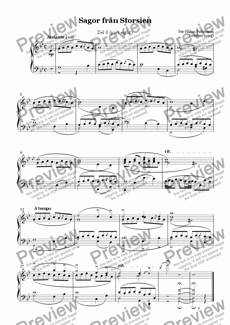 page one of Storsien Tales (part eight) Piano