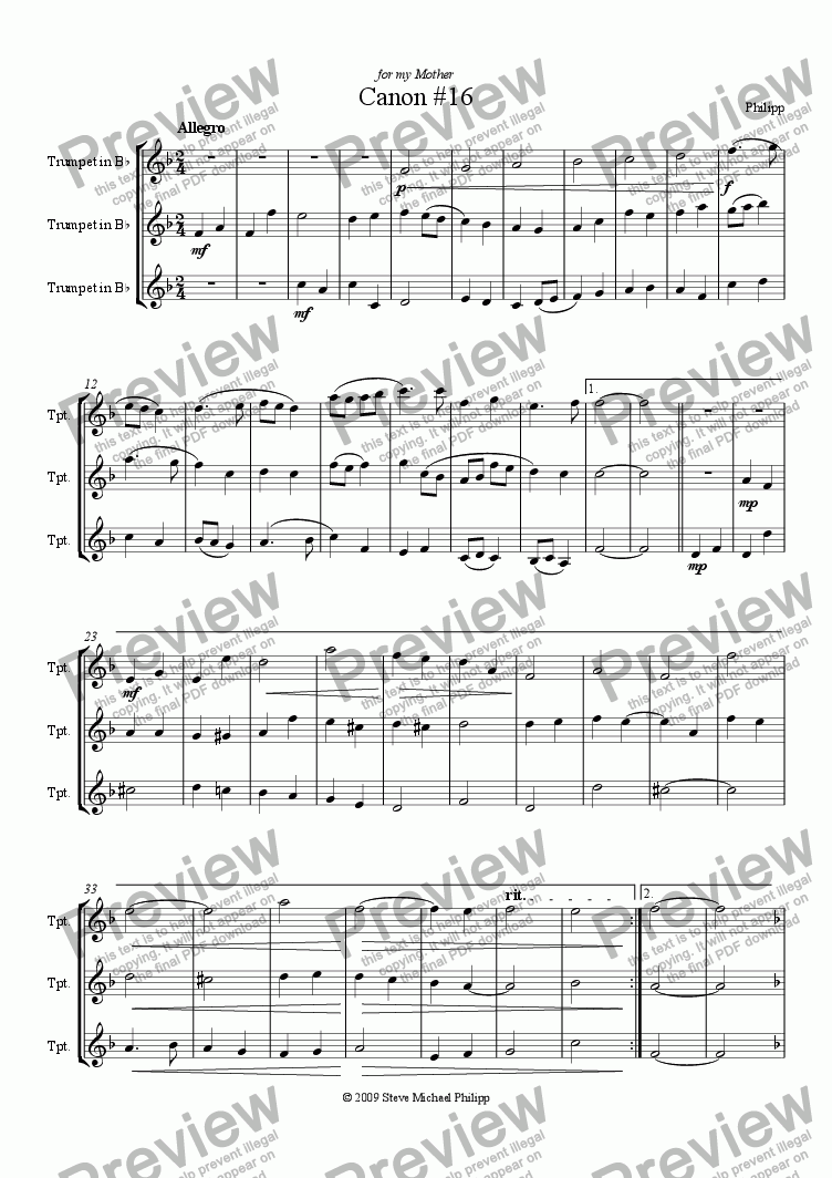 page one of Two Canons for Trumpet Trio