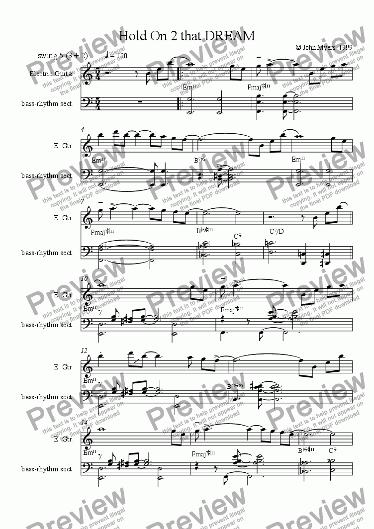 page one of Hold On To That Dream (leadsheet version)