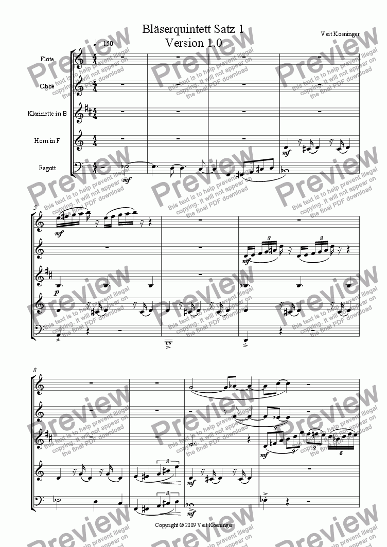 page one of Wind Quintet Movement 1