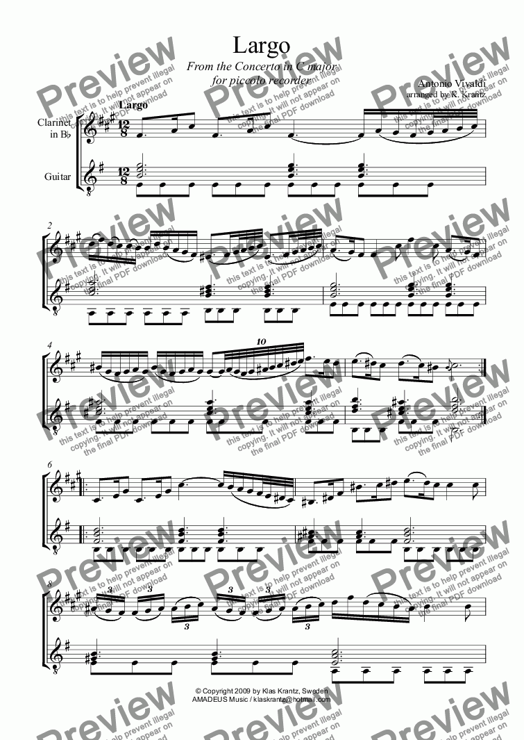 page one of Largo from the Concerto in C major for clarinet and guitar