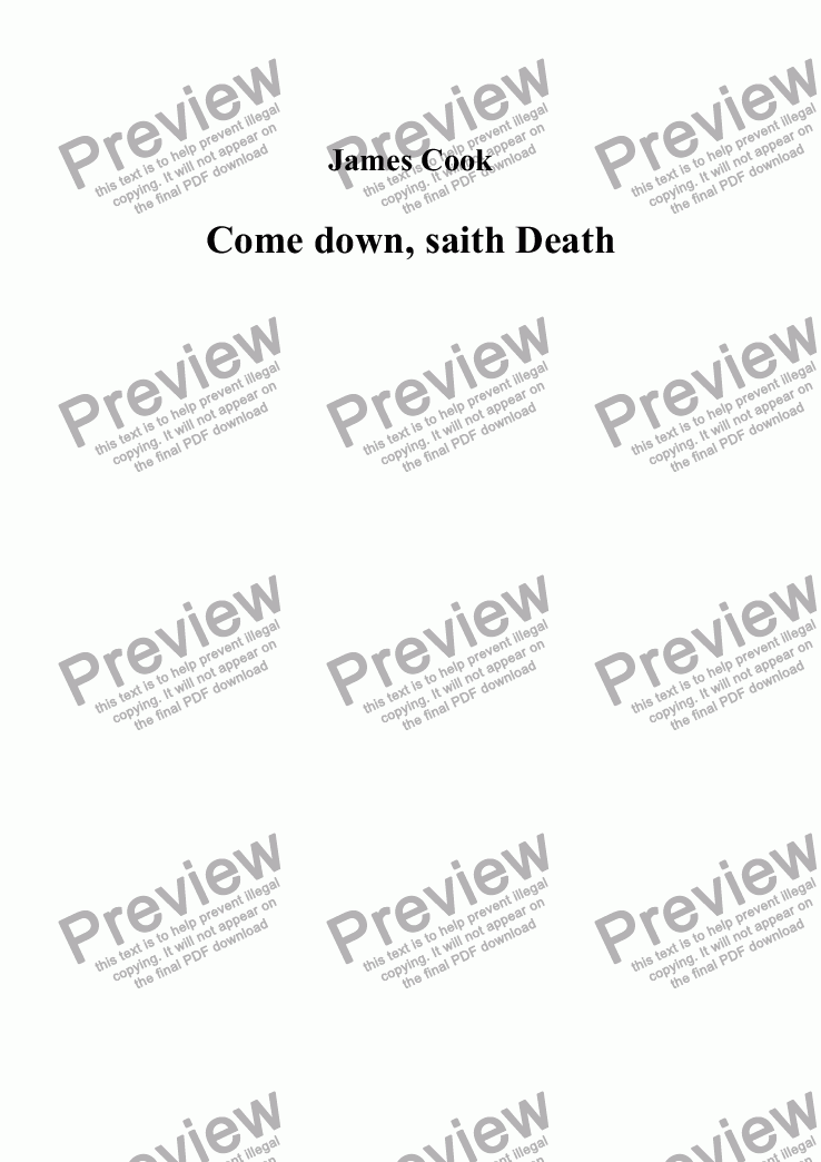 page one of Come down, saith Death