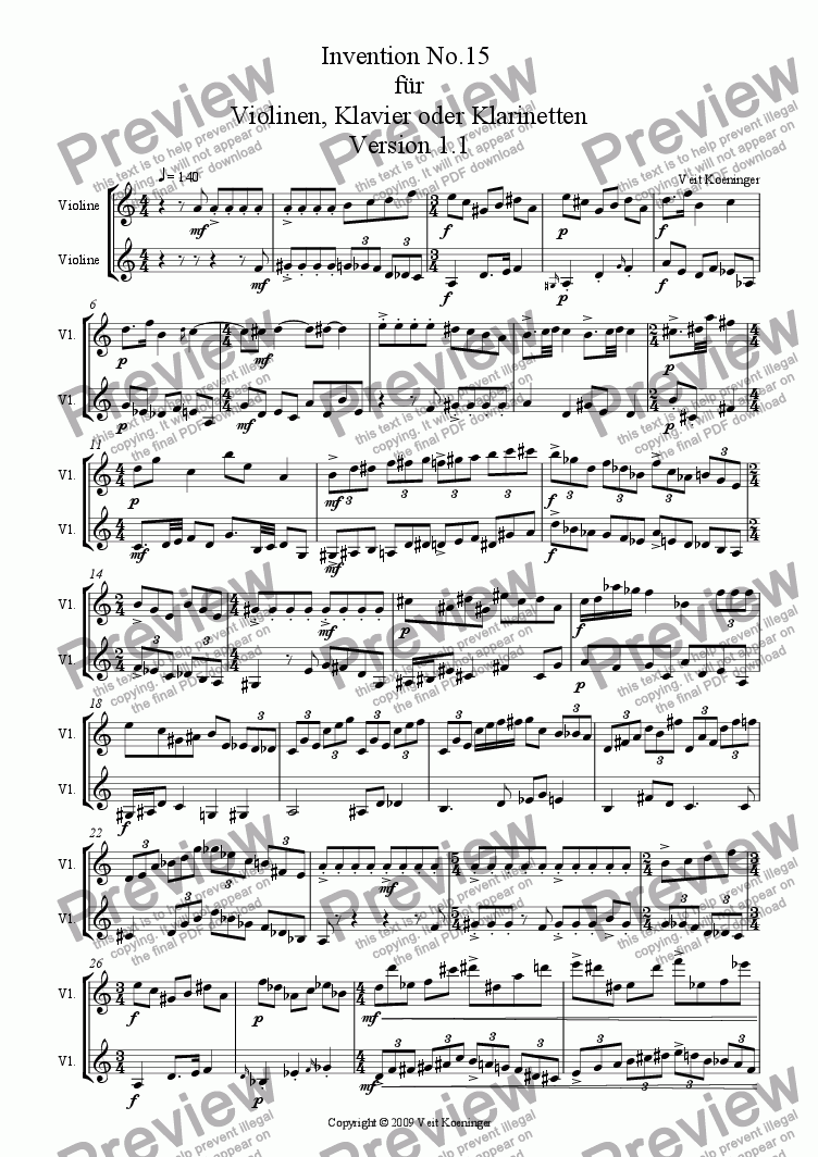 page one of Atonal invention No.15 for piano or 2 violins or 2 clarinets