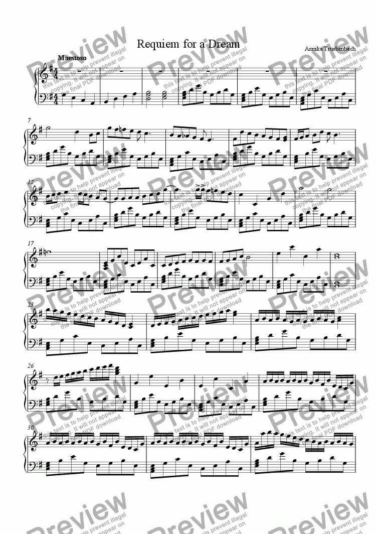 Requiem for a Dream for Solo instrument (Piano) by Annika Truebenbach -  Sheet Music PDF file to download