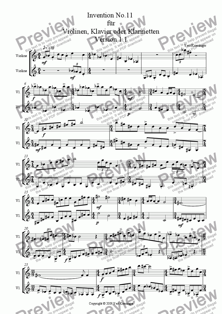 page one of Atonal invention No.11 for piano or 2 violins or 2 clarinets
