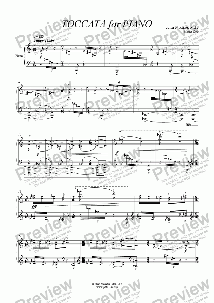 page one of Toccata [1999]