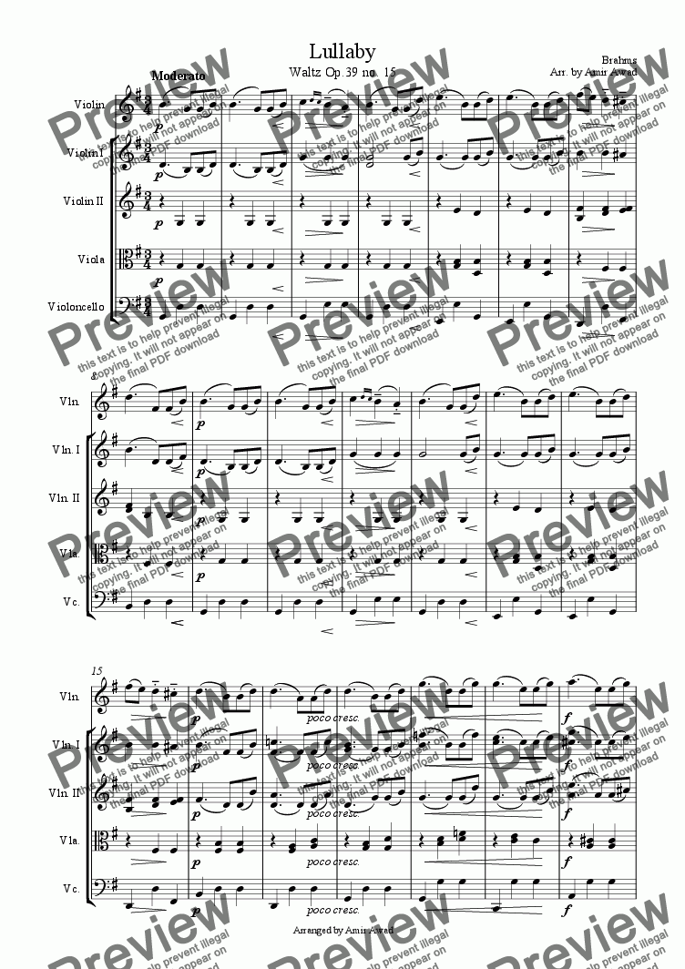 page one of Brahms : Valse Op. 39 no.15 (Lullaby)