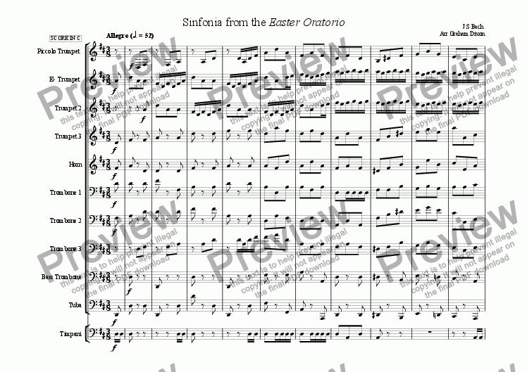 page one of Overture from the Easter Oratorio