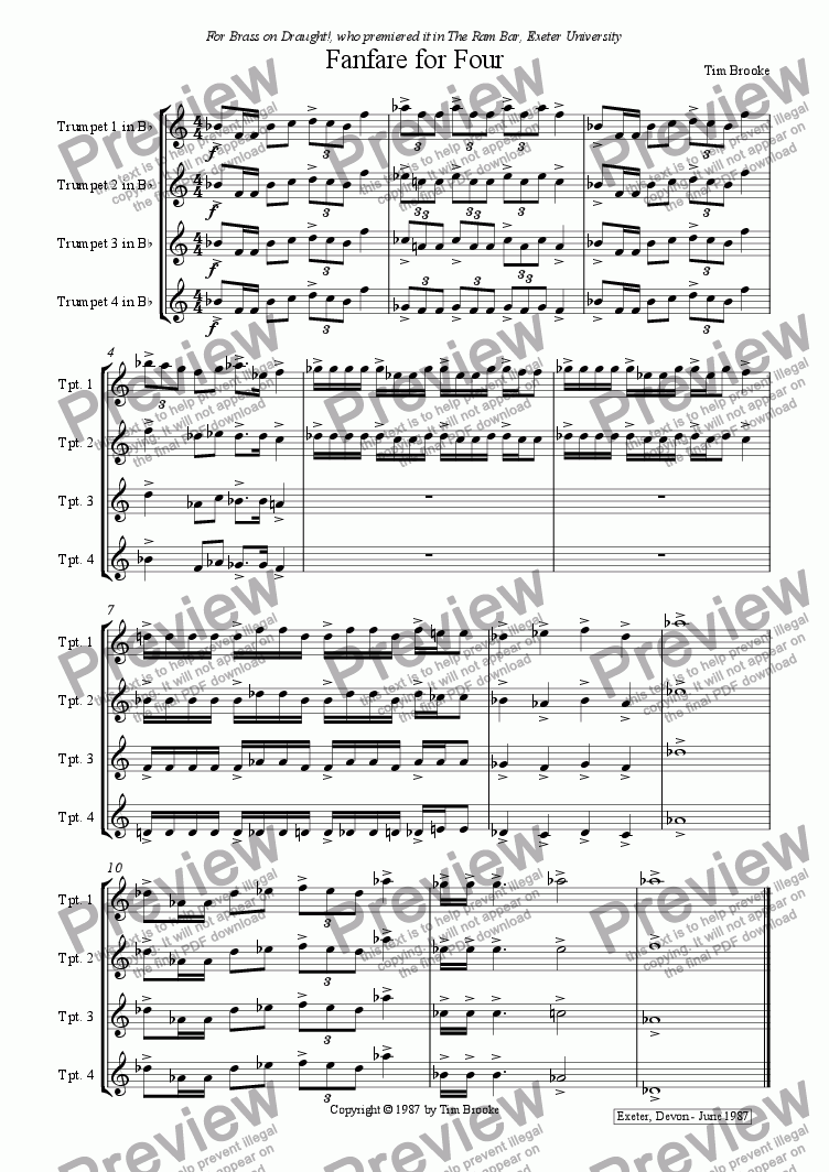 page one of Fanfare for Four - for four trumpets