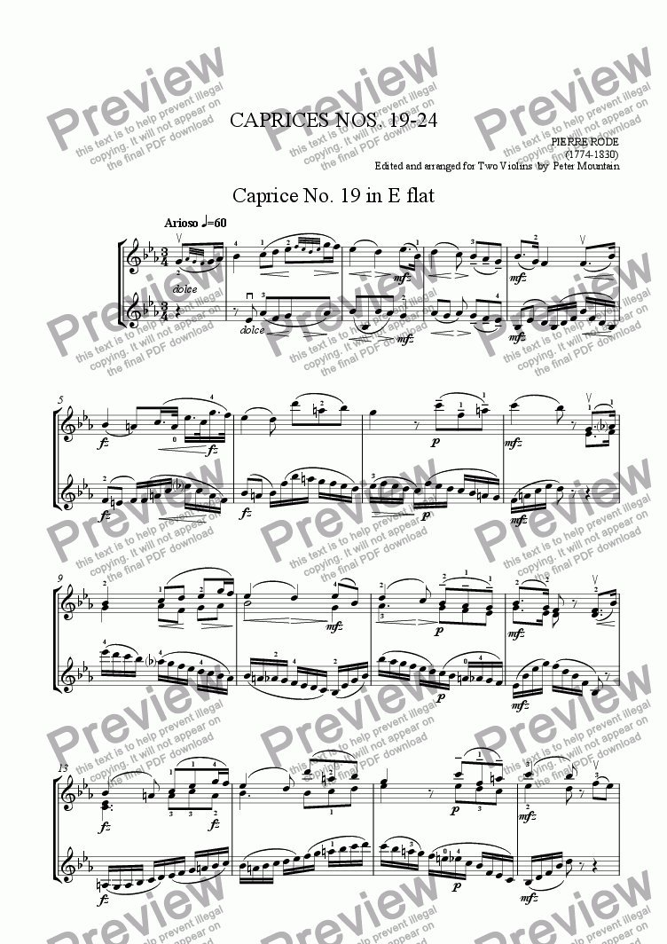 page one of Caprices Nos. 19-24 by Pierre Rode for Violin Duet