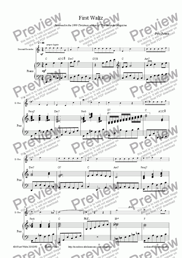 page one of First Waltz [1st of 10] Flute RecorderASALTTEXT