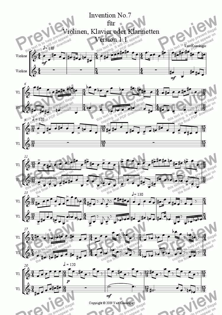 page one of Atonal invention No.7 for piano or 2 violins or 2 clarinets