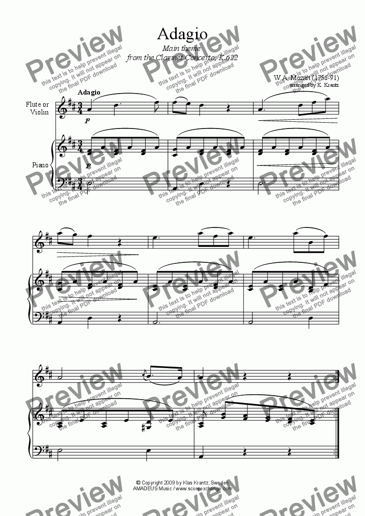 page one of Adagio for violin or flute and easy piano