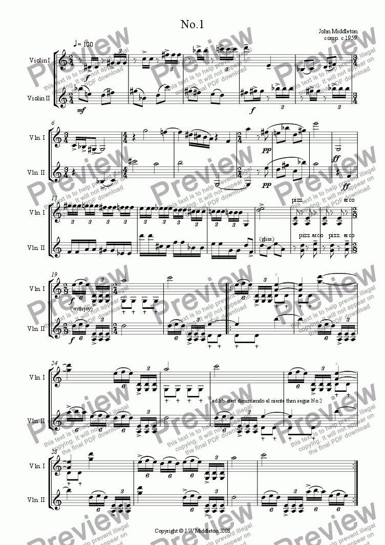 page one of Four Violin Duos
