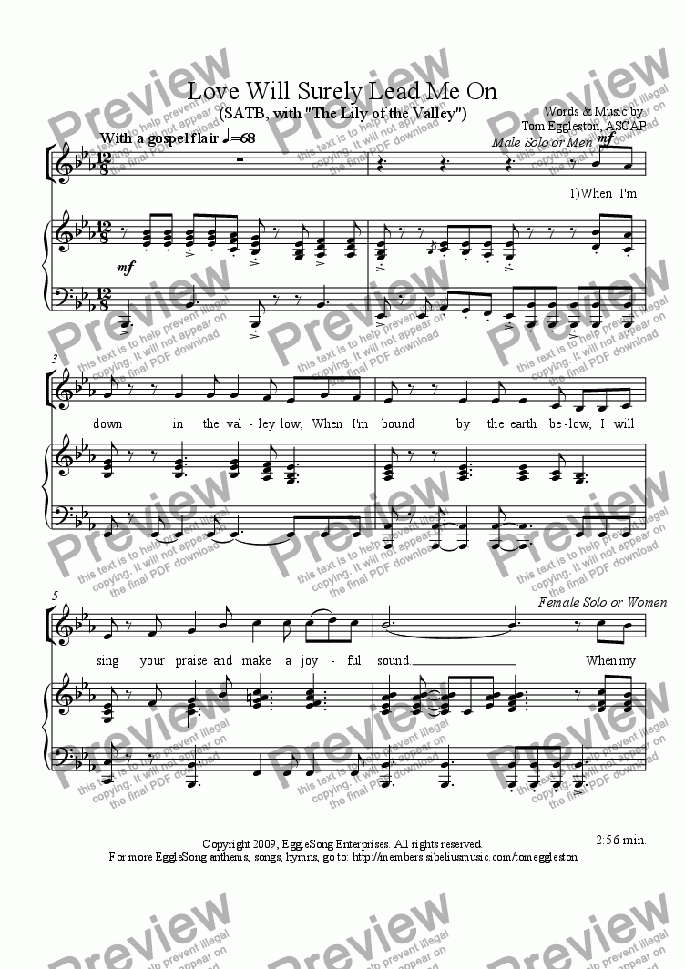 page one of Love Will Surely Lead Me On, SATB