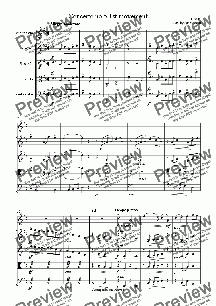 page one of Pupil's Concerto No. 5 in D Major, Op. 22 for Violin and Piano arranged for Violin and string orchestra