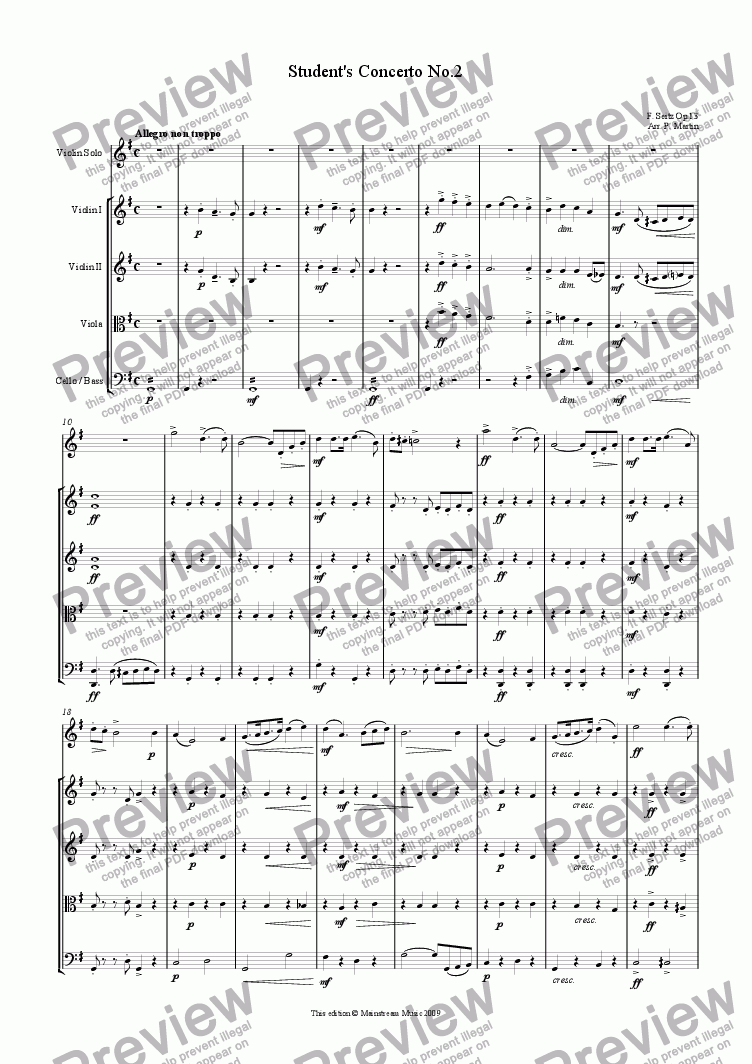 page one of Student Concerto No.2 in G Major