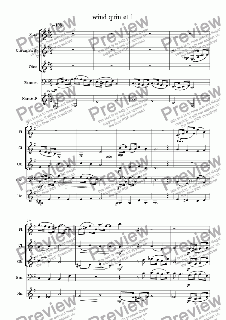 page one of Wind Quintet in G