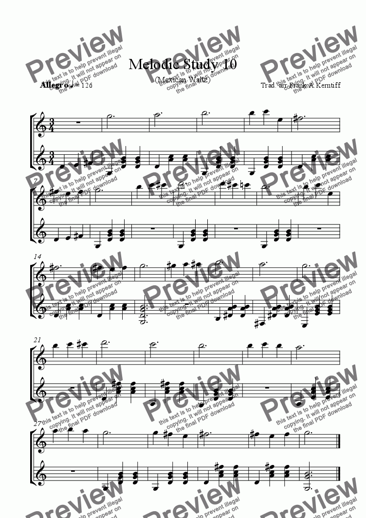 page one of Melodic Study 10