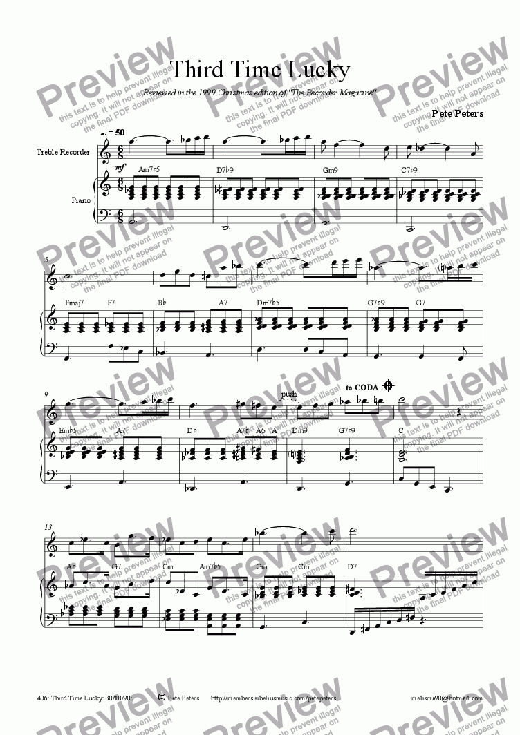 page one of Third Time Lucky [recorder 3 of 10]