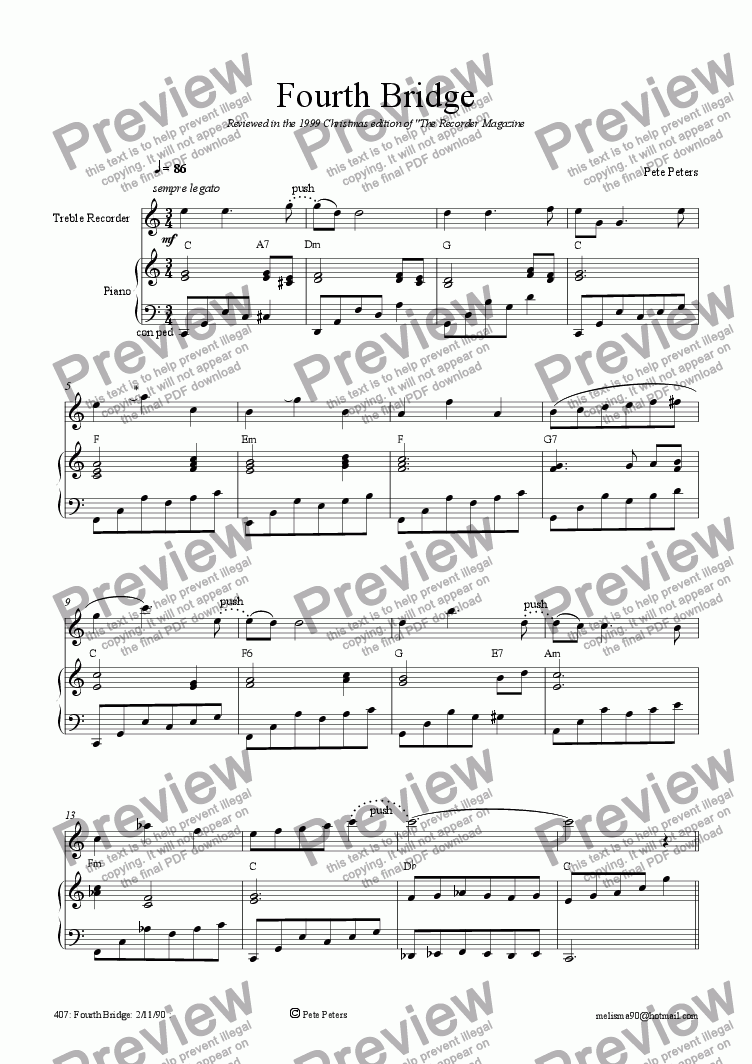 page one of Fourth Bridge [4 0f 10] recorder