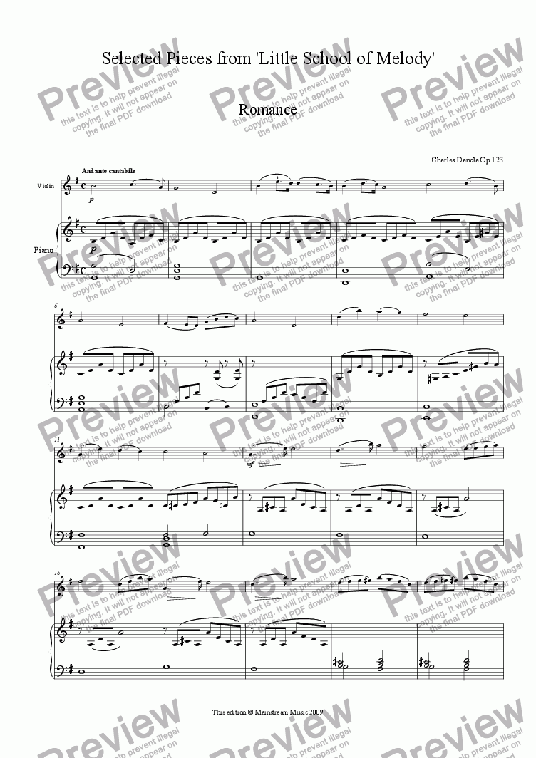 page one of Selected Pieces from 'Little School of Melody'