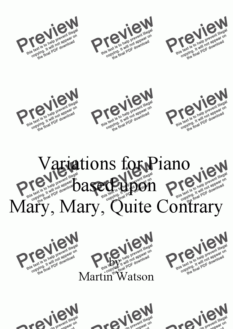 page one of Variations for Piano based upon Mary, Mary, Quite Contrary