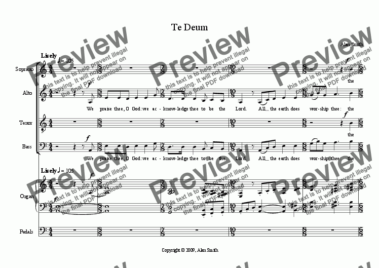 page one of Te Deum (SATB + organ)