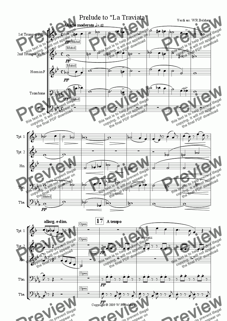 "page one of Prelude to ""La Traviata"" (brass quintet)"