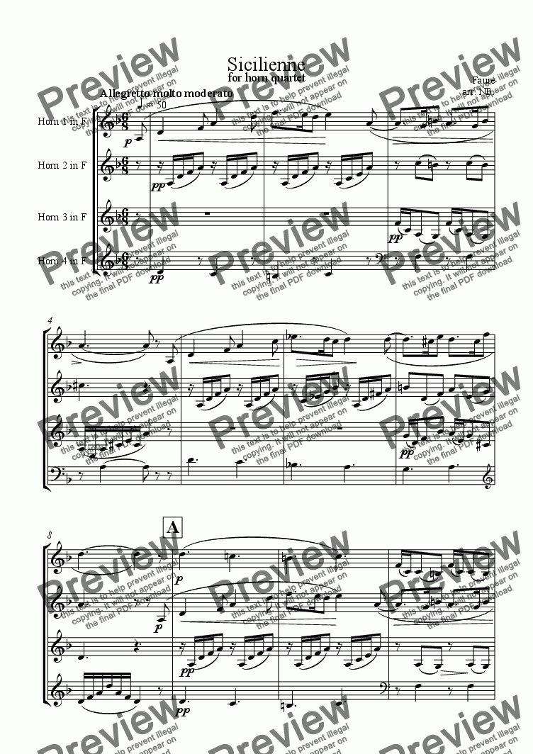 page one of Sicilienne, arranged for four horns