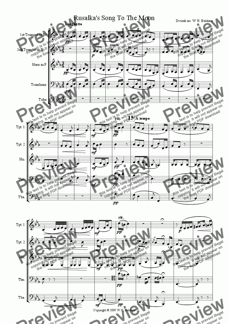 page one of Rusalka's Song To The Moon (brass quintet)