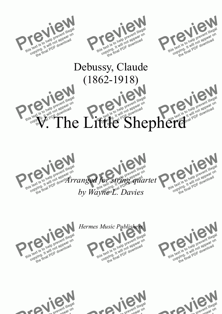 page one of 'The Little Shepherd' for String Quartet
