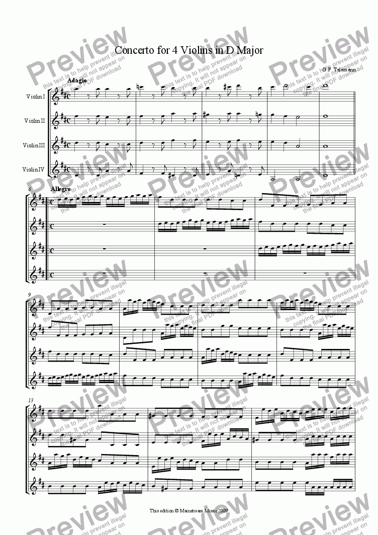 page one of Concerto for 4 Violins in D Major