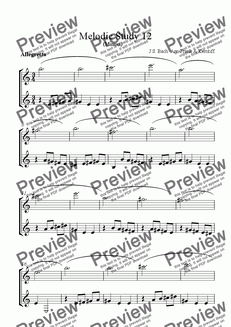 page one of Melodic Study 12