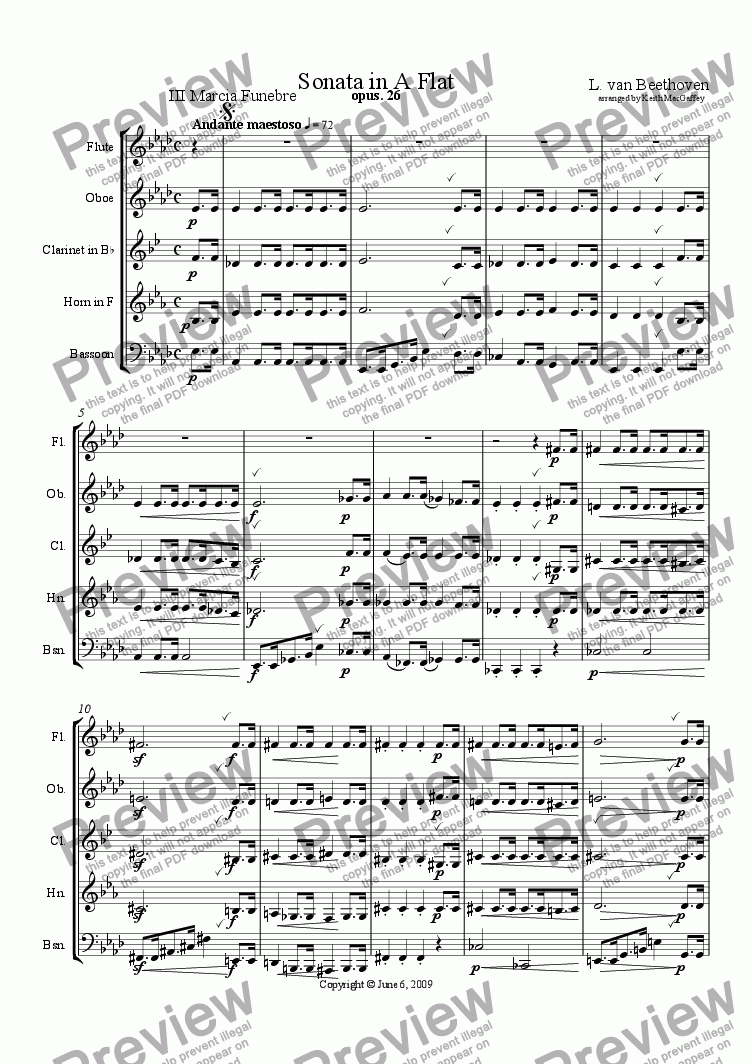 page one of Beethoven: Sonata for Wind Quintet III Marcia Funebre