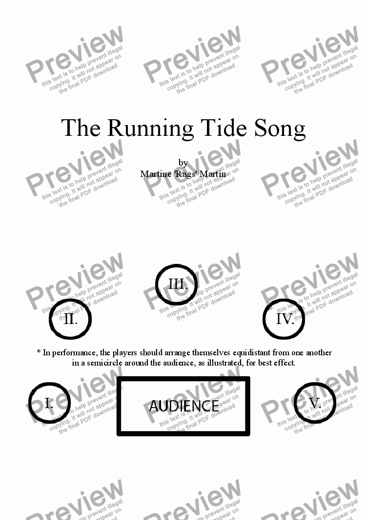 page one of The Running Tide Song - 5 CellosASALTTEXT