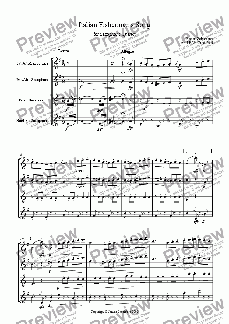 page one of Italian Fishermen's Song (for Saxophone Quartet)