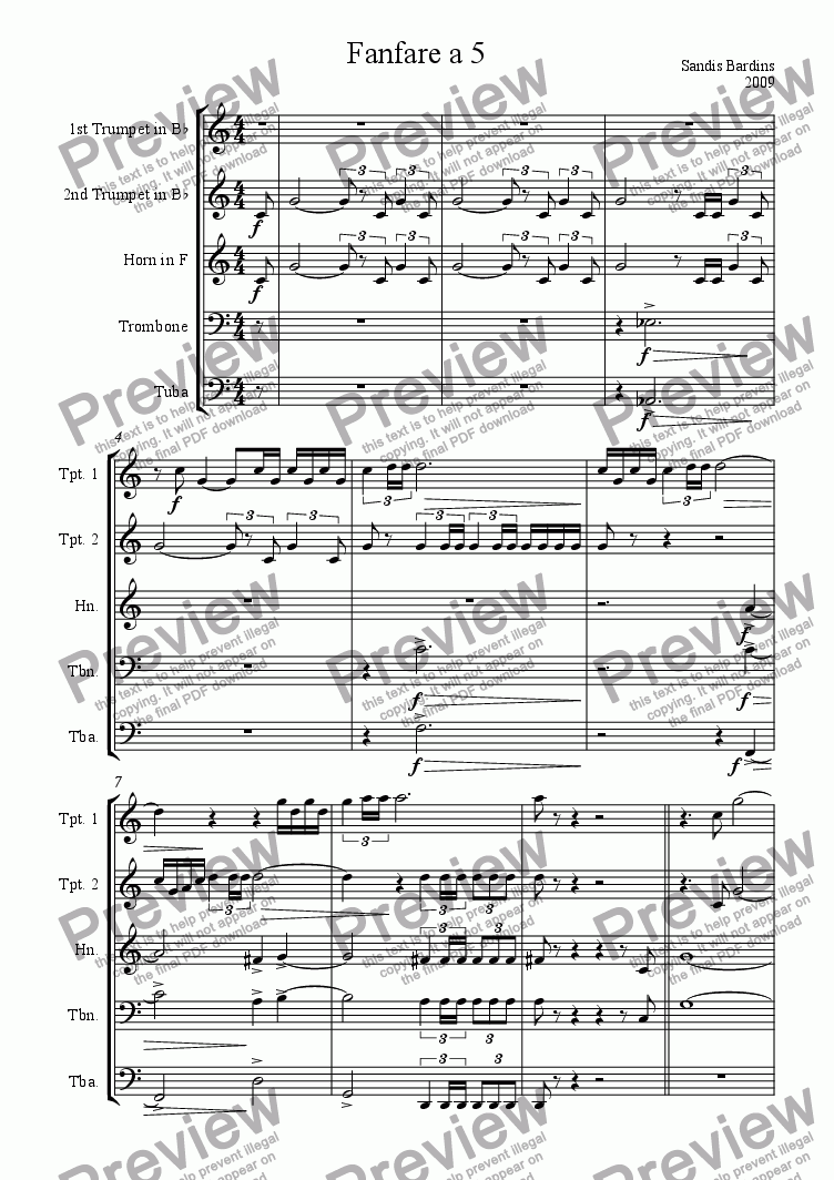 page one of Fanfare a 5